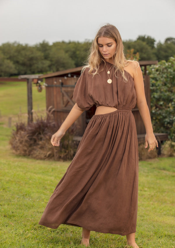 Wanderess One Shoulder Maxi Dress