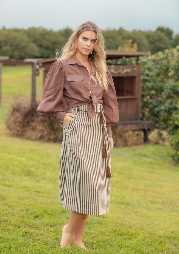 Fleetwood Stripe Midi Skirt