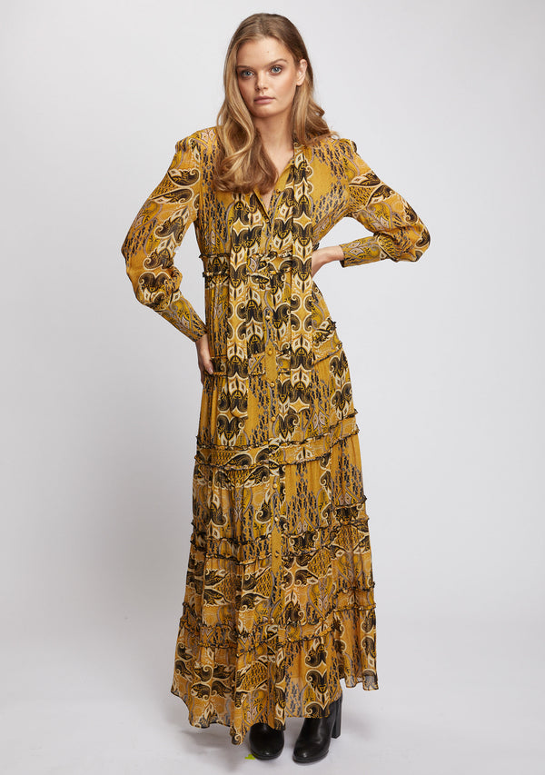 Gold Light Maxi Dress Front