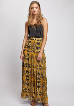Gold Light Maxi Skirt Front