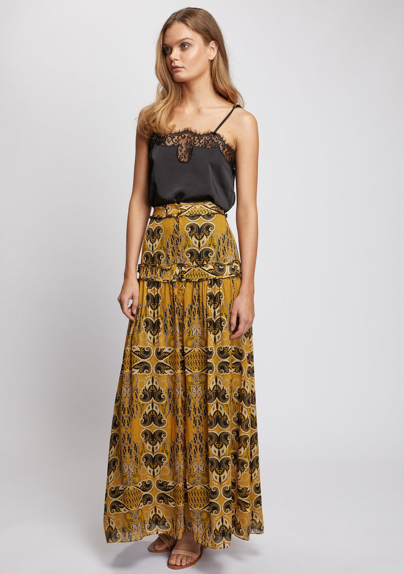 Gold Light Maxi Skirt Side