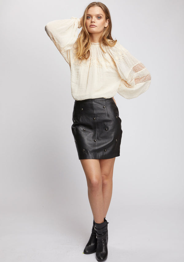 Lola Studded Skirt Black Front 2