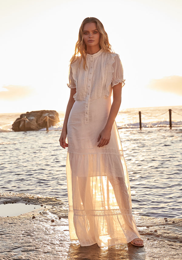 Mandolin Maxi Dress Ivory Mood Shot