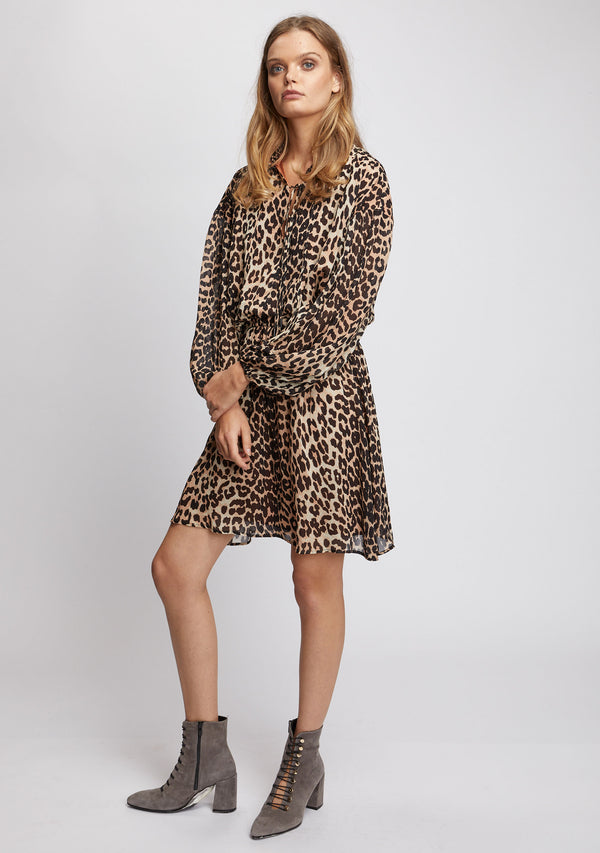 Nightfall Long Sleeve Dress Leopard Print Side