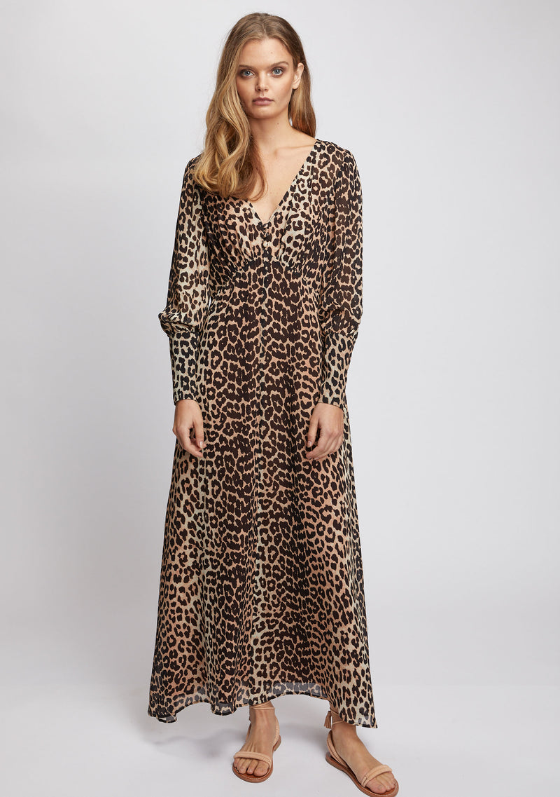 Nightfall Maxi Dress Leopard Print Front
