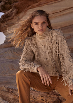 Paloma Fringe Sweater Natural Mood Shot
