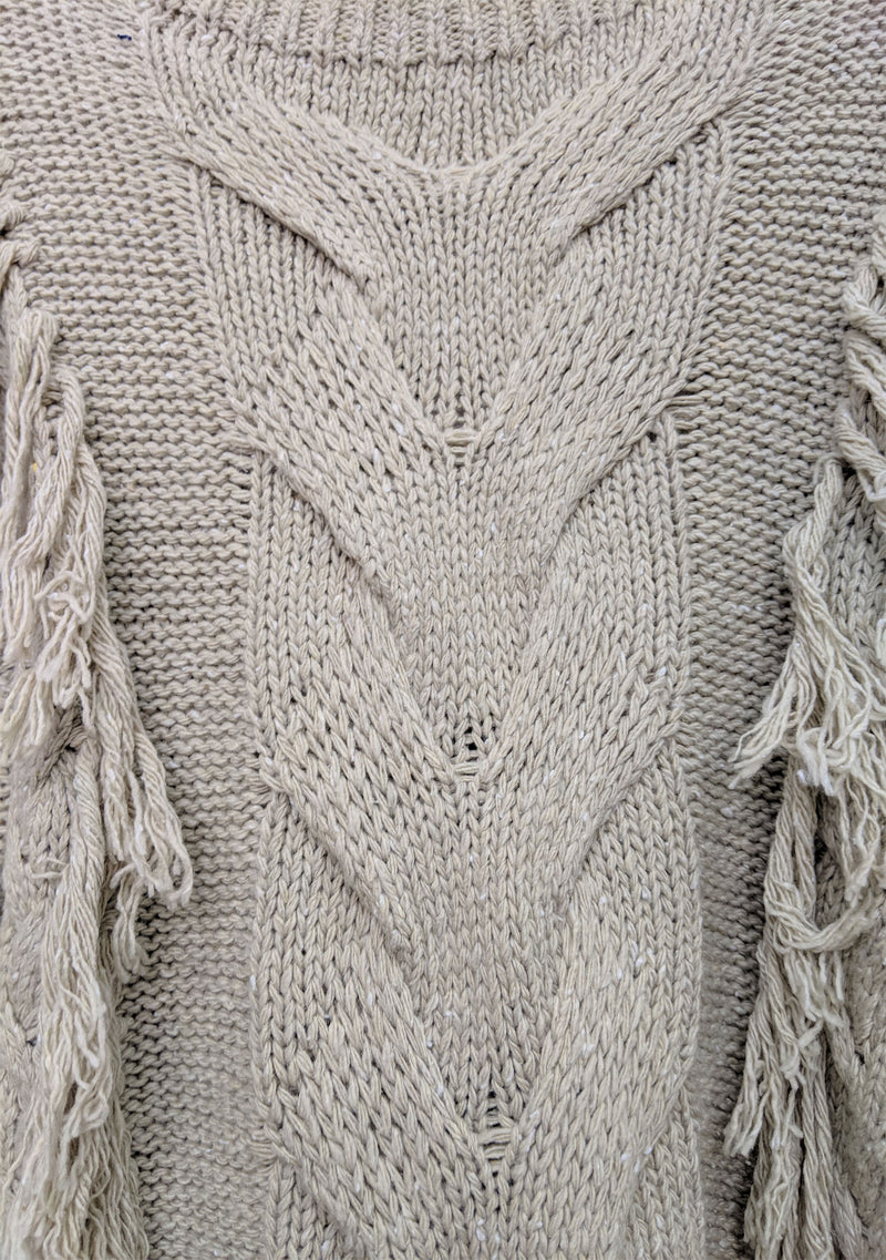 Paloma Fringe Sweater Natural Detail