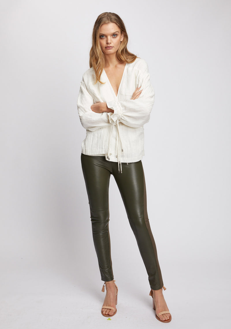 Unity Leather Legging Olive Front 2