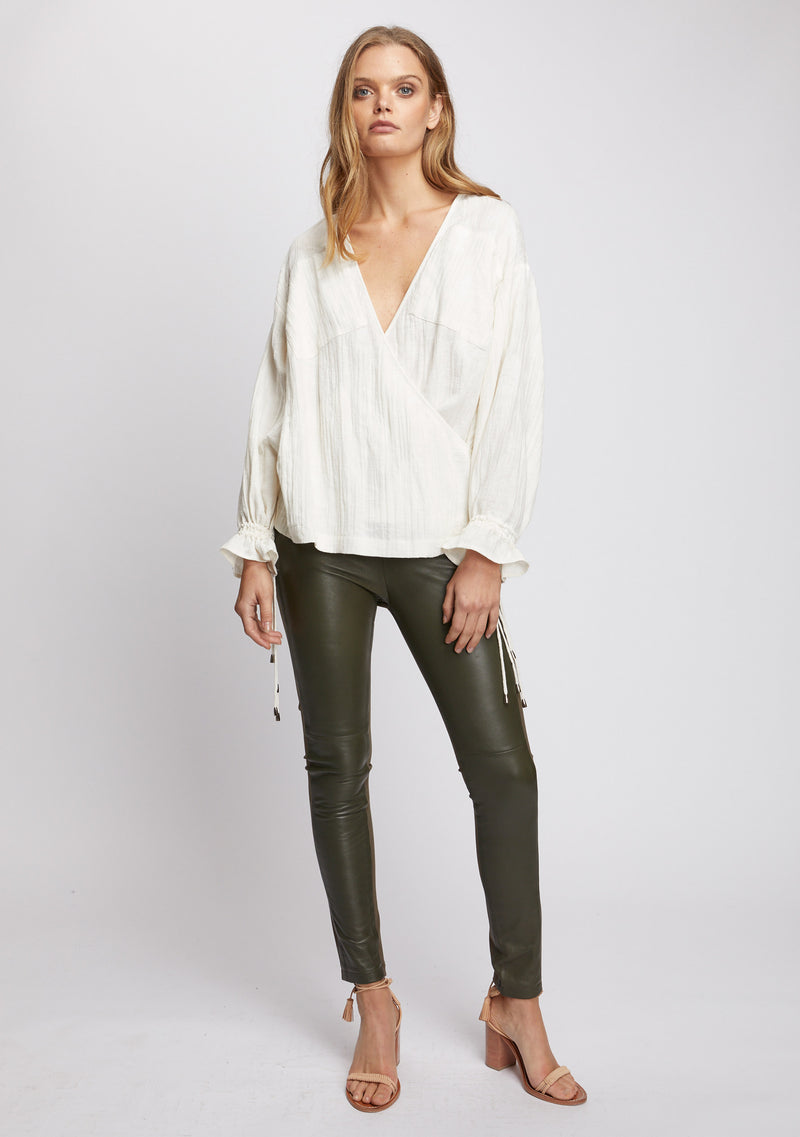 Unity Leather Legging Olive Front