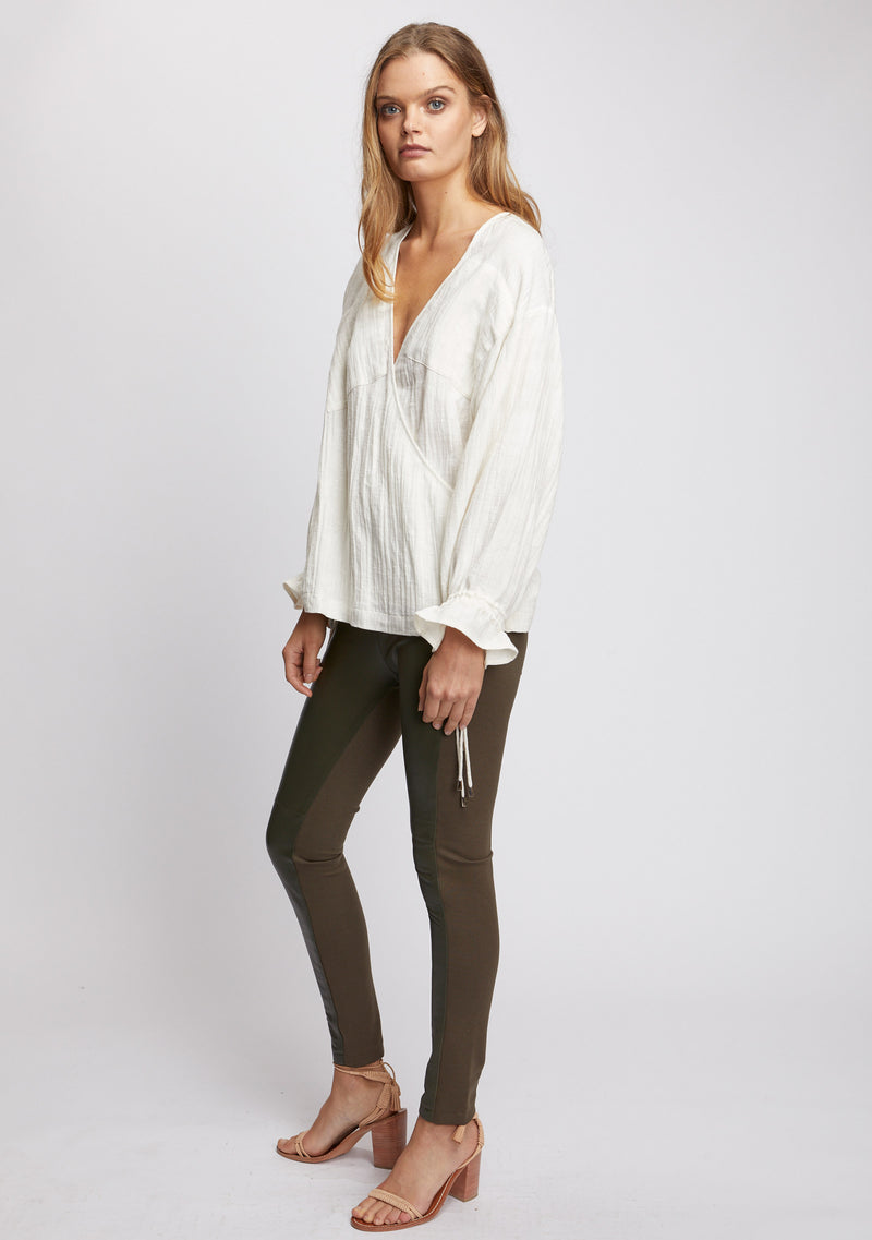 Unity Leather Legging Olive Side