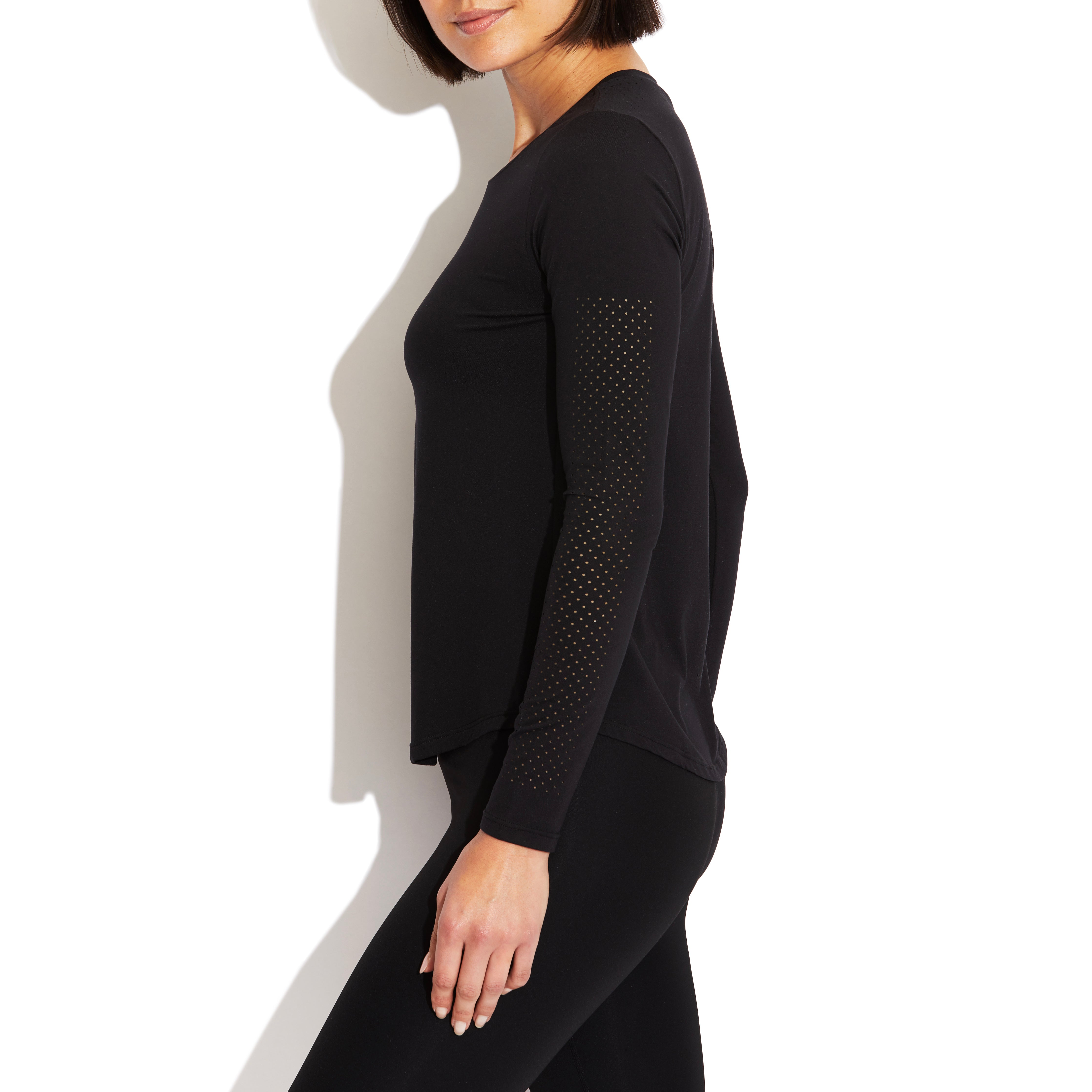 Laser Perforated Long Sleeve Top