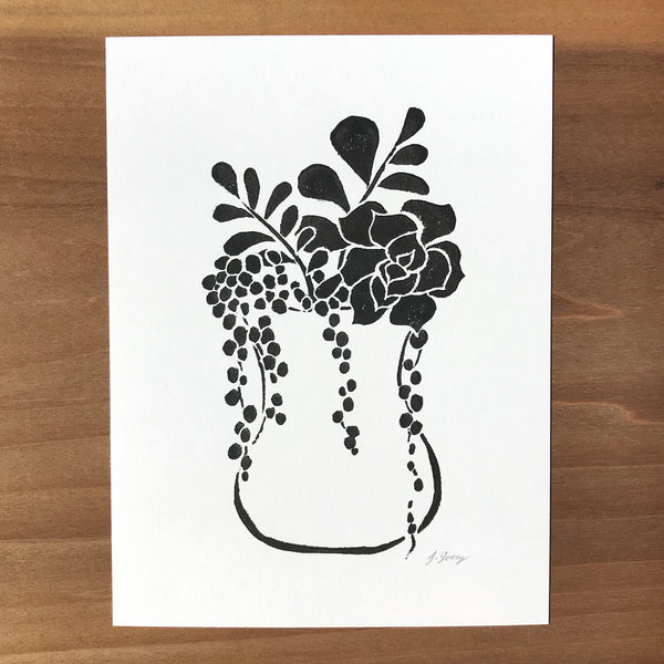 Succulent Arrangement Block Print