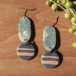 Hammered Brass and Charcoal with Lines Polymer Clay Statement Earrings by JAX Atelier