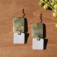 Hammered Brass and Very Light Gray Polymer Clay Statement Earrings by JAX Atelier