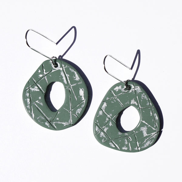 Seafoam and Worn White Hand-Painted Polymer Clay Statement Earrings by JAX Atelier
