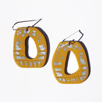 Mustard Hand-Painted Polymer Clay Statement Earrings by JAX Atelier