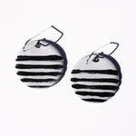 Taupe and Black Hand-Painted Polymer Clay Statement Earrings by Jax Atelier