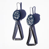 Textured Aluminum with Dark Blue Hand-Painted Polymer Clay Earrings by Jax Atelier