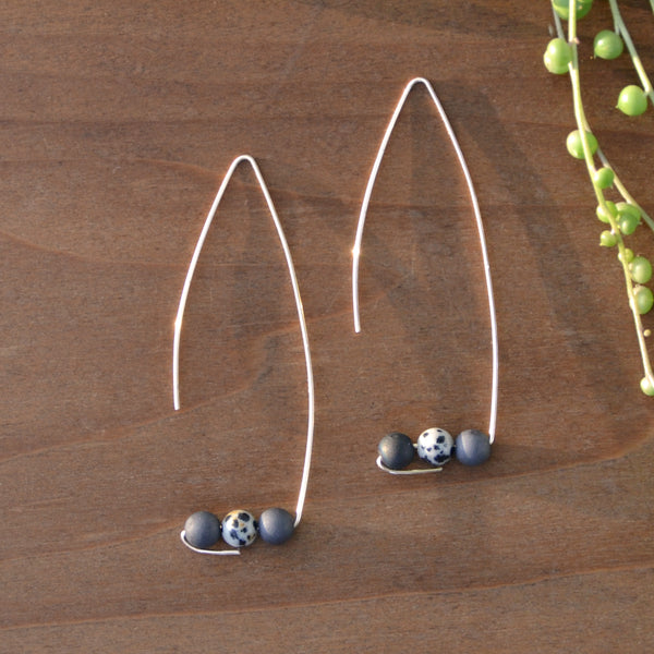 Black-and-White and Brass Wire Earrings