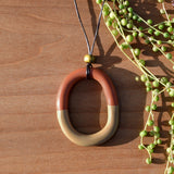 Oblong Polymer Clay Necklace