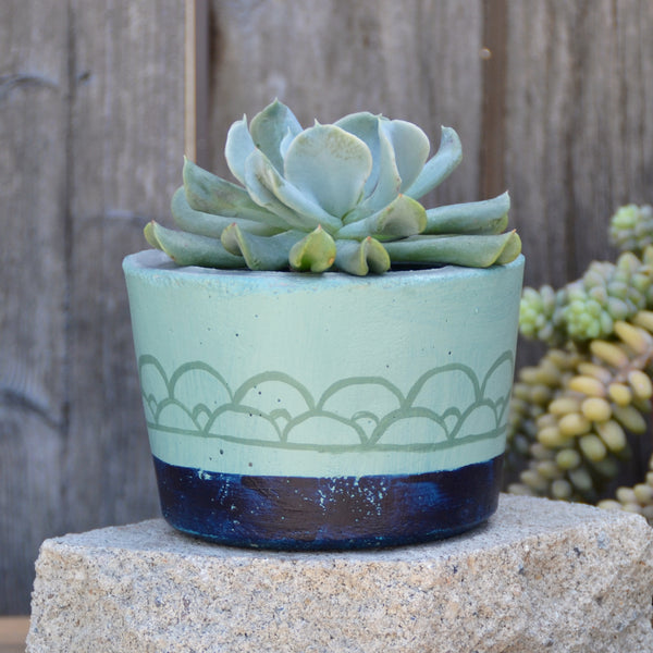 Dark Blue Bottom Concrete Planter