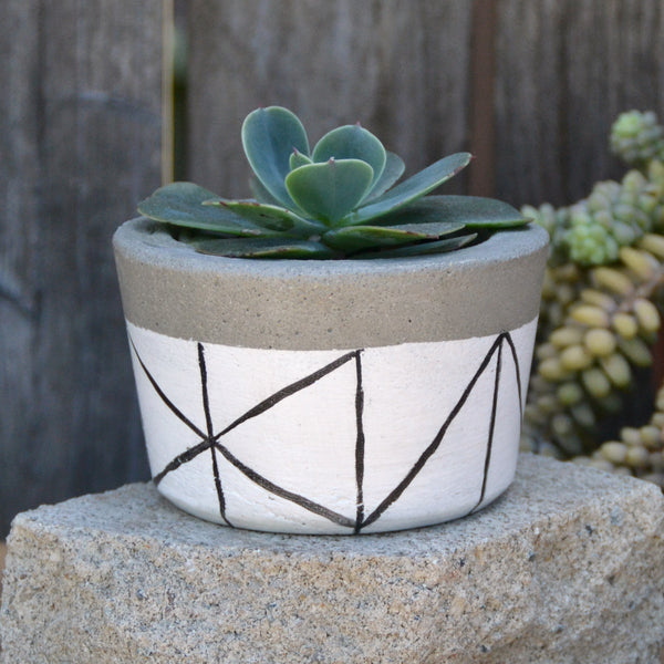 White with Black Lines Concrete Planter