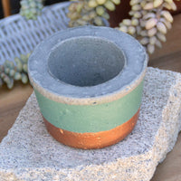 Teal and Copper Concrete Planter