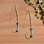 Hammered Brass and Blue Clay Bead Earrings 03