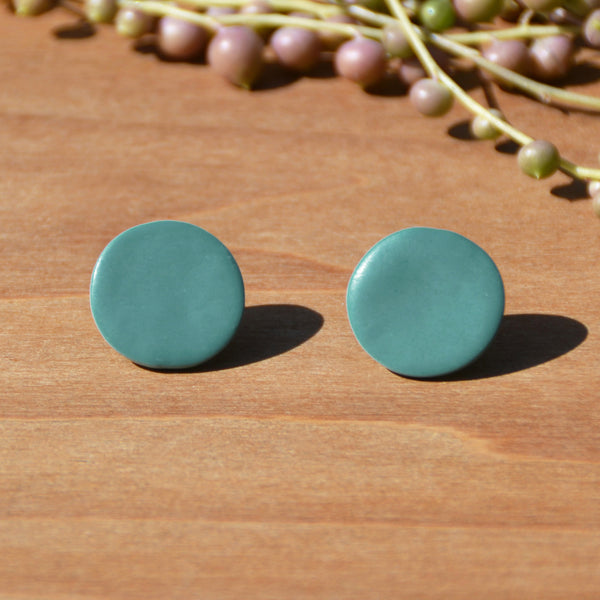 Turquoise Blue Circles Polymer Clay Earrings