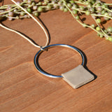 Steel and Taupe Polymer Clay Necklace