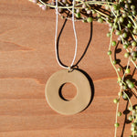Tan Circle Polymer Clay Necklace