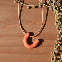 Salmon Side 'U' Shaped Polymer Clay Necklace