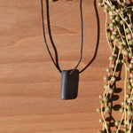 Minimalistic Black Polymer Clay Necklace