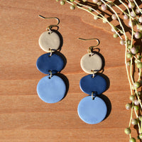 Taupe, Blue and Periwinkle Polymer Clay Statement Earrings