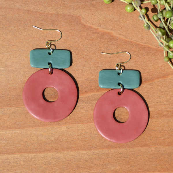 Teal and Brick Red Circle Polymer Clay Earrings
