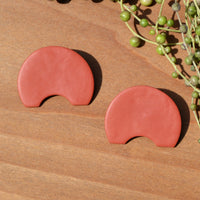 Terra Cotta Abstract Polymer Clay Statement Earrings
