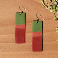 Olive, Orange and Red Polymer Clay Statement Earrings by JAX Atelier