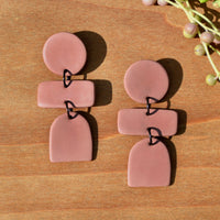 Mauve Three-tiered Polymer Clay Earrings