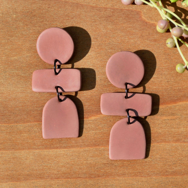 Mauve Three-tiered Polymer Clay Statement Earrings by JAX Atelier