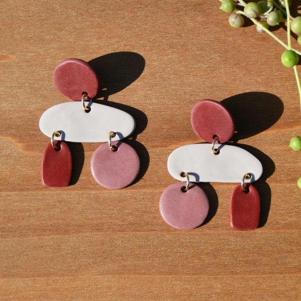 One-of-a-kind Wine and Taupe Mobile Polymer Clay Statement Earrings