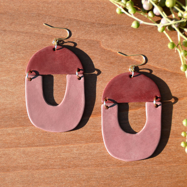 Wine and Mauve Polymer Clay Statement Earrings