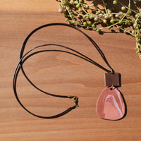 Leather and Terra Cotta Swirl Polymer Clay Statement Necklace