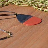 Tricolor Abstract Polymer Clay Necklace