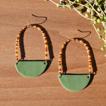 Amber Beads and Olive Polymer Clay Statement Earrings