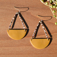 Multicolor Beads and Ochre Polymer Clay Statement Earrings