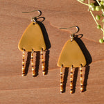 Amber Beads and Mustard Triangle Polymer Clay Statement Earrings by JAX Atelier