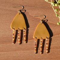 Amber Beads and Ochre Polymer Clay Statement Earrings