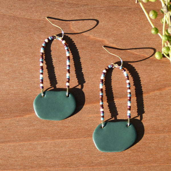 Multicolored Beads and Dark Teal Polymer Clay Statement Earrings