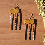Multicolored Beads and Rectangular Ochre Polymer Clay Statement Earrings by JAX Atelier