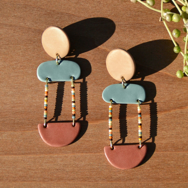 Multicolored Beads and Tricolor Polymer Clay Statement Earrings by JAX Atelier
